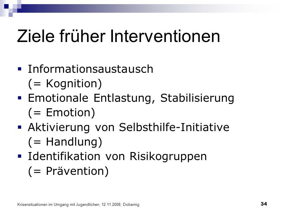 Krisensituationen im Umgang mit Jugendlichen; 12.11.2008; Dobernig 34 Ziele früher Interventionen Informationsaustausch (= Kognition) Emotionale Entlastung, Stabilisierung (= Emotion) Aktivierung von Selbsthilfe-Initiative (= Handlung) Identifikation von Risikogruppen (= Prävention)