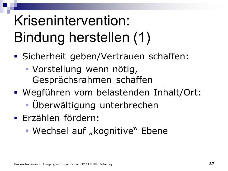 Krisensituationen im Umgang mit Jugendlichen; 12.11.2008; Dobernig 37 Krisenintervention: Bindung herstellen (1) Sicherheit geben/Vertrauen schaffen: