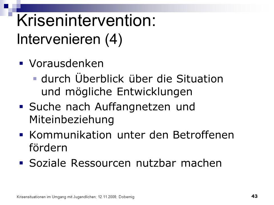 Krisensituationen im Umgang mit Jugendlichen; 12.11.2008; Dobernig 43 Krisenintervention: Intervenieren (4) Vorausdenken durch Überblick über die Situ