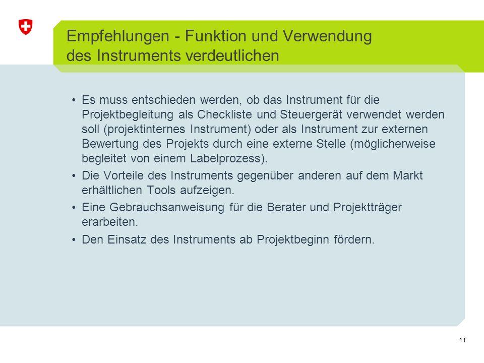 11 Empfehlungen - Funktion und Verwendung des Instruments verdeutlichen Es muss entschieden werden, ob das Instrument für die Projektbegleitung als Ch