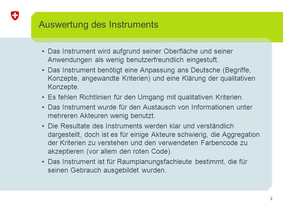 3 Auswertung des Instruments Das Instrument eignet sich besser für eine städtische Anwendung als für eine ländliche Umgebung oder eine Industriebrache.