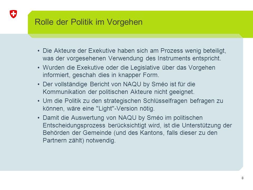 8 Rolle der Politik im Vorgehen Die Akteure der Exekutive haben sich am Prozess wenig beteiligt, was der vorgesehenen Verwendung des Instruments entspricht.