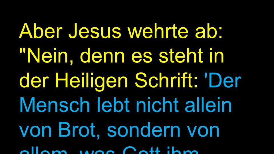 Aber Jesus wehrte ab: