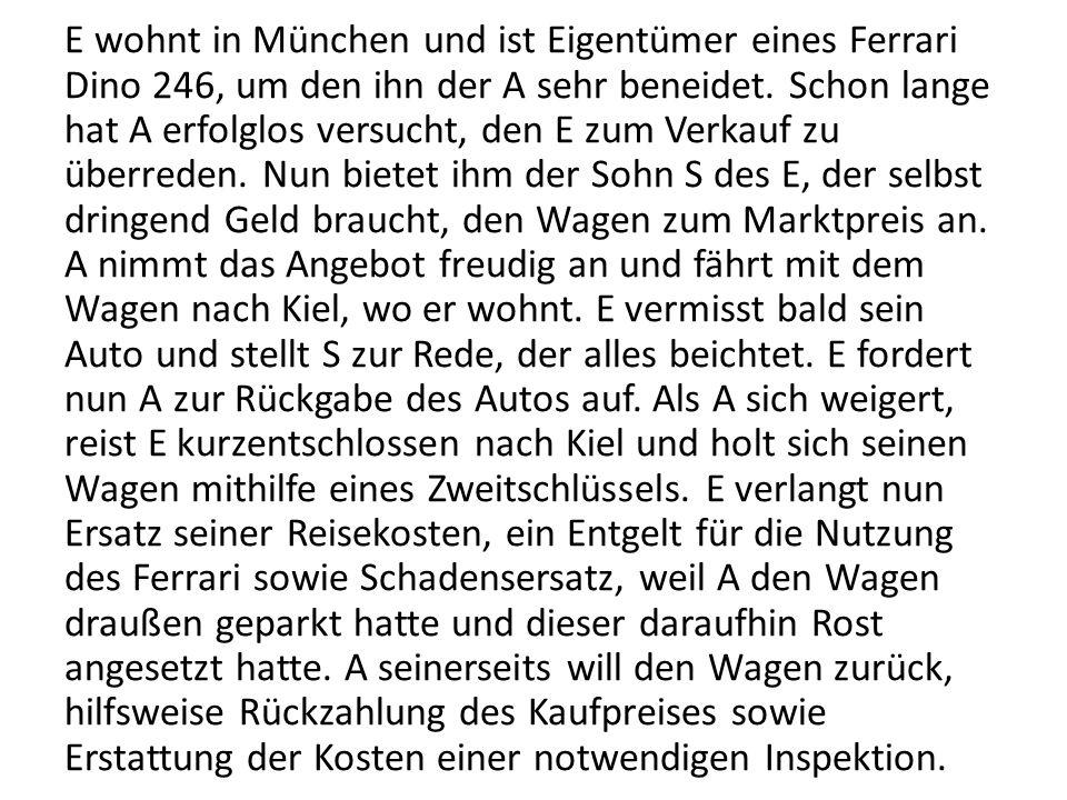 E wohnt in München und ist Eigentümer eines Ferrari Dino 246, um den ihn der A sehr beneidet. Schon lange hat A erfolglos versucht, den E zum Verkauf