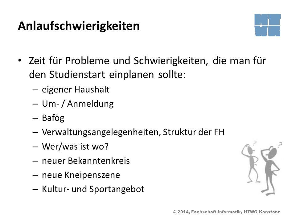 © 2014, Fachschaft Informatik, HTWG Konstanz Anlaufschwierigkeiten Zeit für Probleme und Schwierigkeiten, die man für den Studienstart einplanen sollt