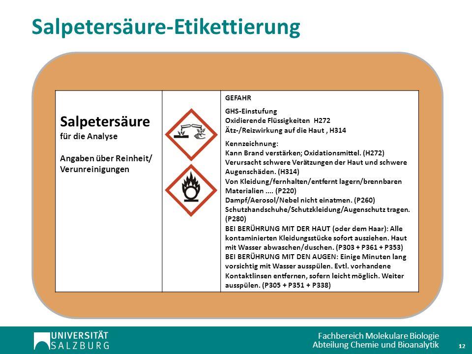Fachbereich Molekulare Biologie Abteilung Chemie und Bioanalytik 12 Salpetersäure für die Analyse Angaben über Reinheit/ Verunreinigungen GEFAHR GHS-E