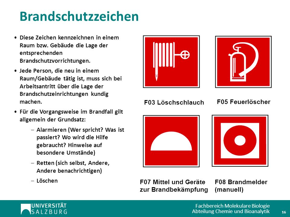 Fachbereich Molekulare Biologie Abteilung Chemie und Bioanalytik Brandschutzzeichen F03 Löschschlauch F05 Feuerlöscher F07 Mittel und Geräte zur Brand