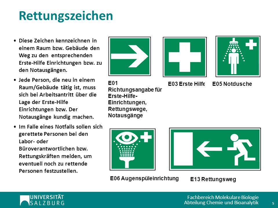 Fachbereich Molekulare Biologie Abteilung Chemie und Bioanalytik Rettungszeichen E01 Richtungsangabe für Erste-Hilfe- Einrichtungen, Rettungswege, Not