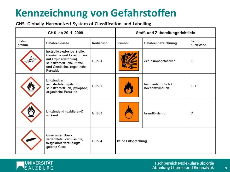 Fachbereich Molekulare Biologie Abteilung Chemie und Bioanalytik Kennzeichnung von Gefahrstoffen 10 GHS, ab 20.
