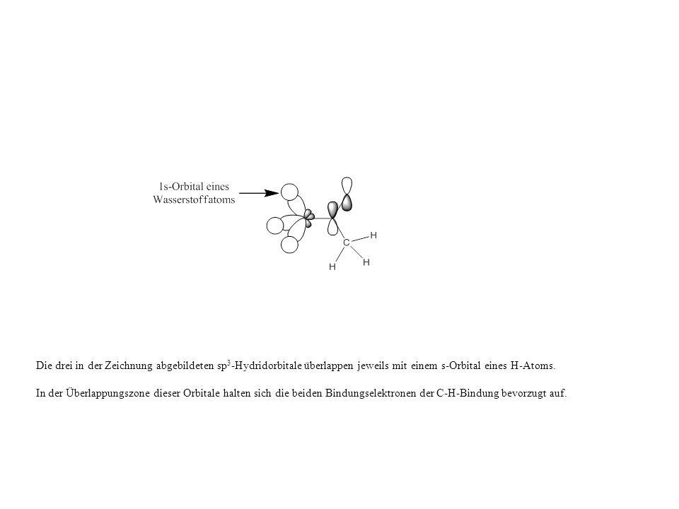 Die drei in der Zeichnung abgebildeten sp 3 -Hydridorbitale überlappen jeweils mit einem s-Orbital eines H-Atoms.