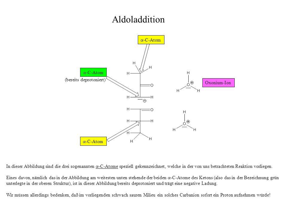In dieser Abbildung sind die drei sogenannten -C-Atome speziell gekennzeichnet, welche in der von uns betrachteten Reaktion vorliegen.