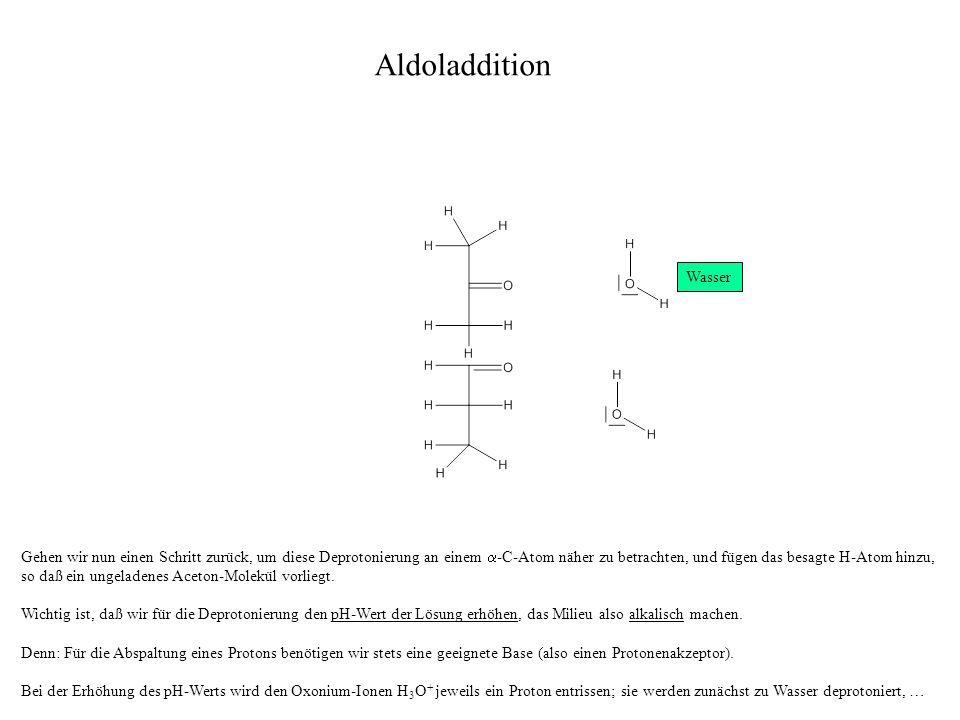 Gehen wir nun einen Schritt zurück, um diese Deprotonierung an einem -C-Atom näher zu betrachten, und fügen das besagte H-Atom hinzu, so daß ein ungeladenes Aceton-Molekül vorliegt.