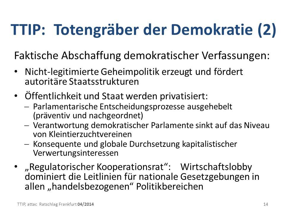 TTIP: Totengräber der Demokratie (2) Faktische Abschaffung demokratischer Verfassungen: Nicht-legitimierte Geheimpolitik erzeugt und fördert autoritäre Staatsstrukturen Öffentlichkeit und Staat werden privatisiert: Parlamentarische Entscheidungsprozesse ausgehebelt (präventiv und nachgeordnet) Verantwortung demokratischer Parlamente sinkt auf das Niveau von Kleintierzuchtvereinen Konsequente und globale Durchsetzung kapitalistischer Verwertungsinteressen Regulatorischer Kooperationsrat: Wirtschaftslobby dominiert die Leitlinien für nationale Gesetzgebungen in allen handelsbezogenen Politikbereichen TTIP, attac Ratschlag Frankfurt 04/201414