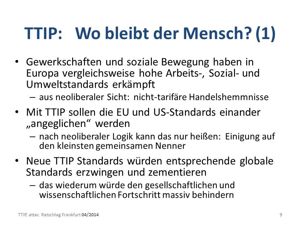 TTIP: Wo bleibt der Mensch.