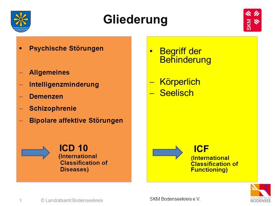 2 Psychische Störungen Es gibt viele verschiedene Definitionen für psychische Erkrankungen oder Störung, die Folgendes im Inhalt gemeinsam haben: liegt Abweichendes Verhalten Leidensdruck Funktionale Beeinträchtigung und Gefährdung (Selbst-, Fremdgefährdung) vor, dann handelt es sich um eine psychische Störung © Landratsamt Bodenseekreis SKM Bodenseekreis e.V.