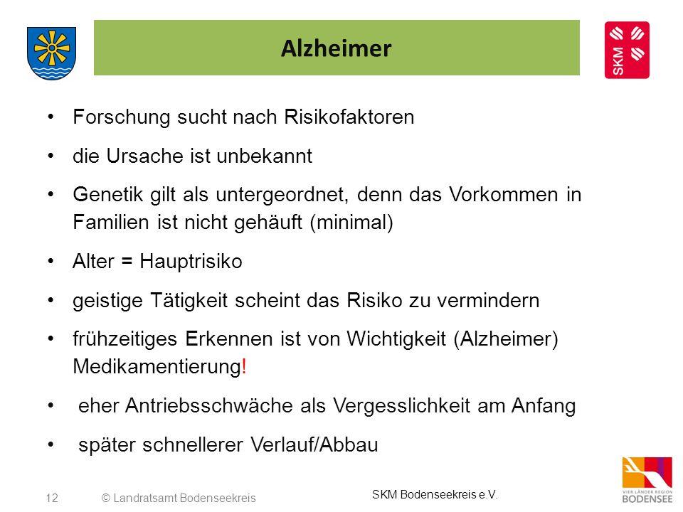 12 Alzheimer Forschung sucht nach Risikofaktoren die Ursache ist unbekannt Genetik gilt als untergeordnet, denn das Vorkommen in Familien ist nicht ge