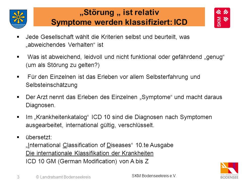 4 Psychische und Verhaltensstörungen im ICD-10 F F00-F09 organische Störungen F10-F19 psychische u.Verhaltensstörungen d.psychotrope Substanz F20-F29 Schizophrenie, schizotype und wahnhafte Störungen F30-F39 affektive Störungen F40-F48 neurotische, Belastungs- u.somatoforme Störungen (Angst, Phobie, Zwang, Dissoziation, PTBS) F50-F59 Verhaltensauffälligkeiten in Verbindung mit körperlichen Störungen oder Faktoren (Essstörungen, Schlafstörungen usw.) F60-F69 Persönlichkeits- und Verhaltensstörungen F70-F79 Intelligenzminderung F80-F89 Entwicklungsstörungen F90-F99 Verhaltens- u.emotionale Störungen mit Beginn in der Kind- heit und Jugend © Landratsamt Bodenseekreis SKM Bodenseekreis e.V.