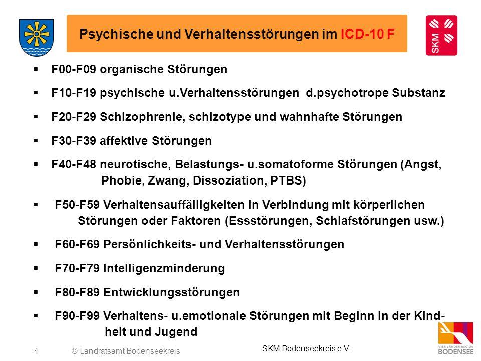 4 Psychische und Verhaltensstörungen im ICD-10 F F00-F09 organische Störungen F10-F19 psychische u.Verhaltensstörungen d.psychotrope Substanz F20-F29