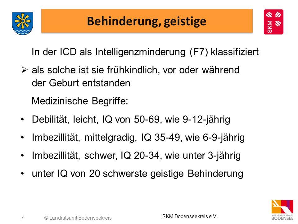 7 Behinderung, geistige In der ICD als Intelligenzminderung (F7) klassifiziert als solche ist sie frühkindlich, vor oder während der Geburt entstanden