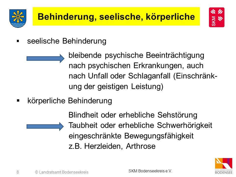 8 Behinderung, seelische, körperliche seelische Behinderung bleibende psychische Beeinträchtigung nach psychischen Erkrankungen, auch nach Unfall oder
