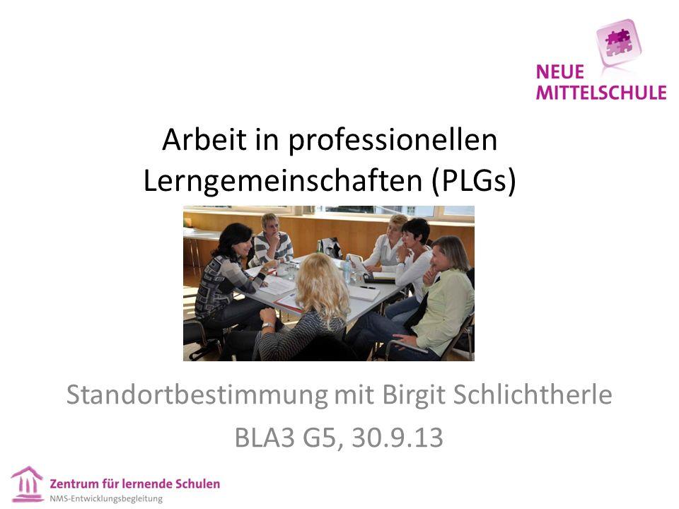 Arbeit in professionellen Lerngemeinschaften (PLGs) Standortbestimmung mit Birgit Schlichtherle BLA3 G5, 30.9.13