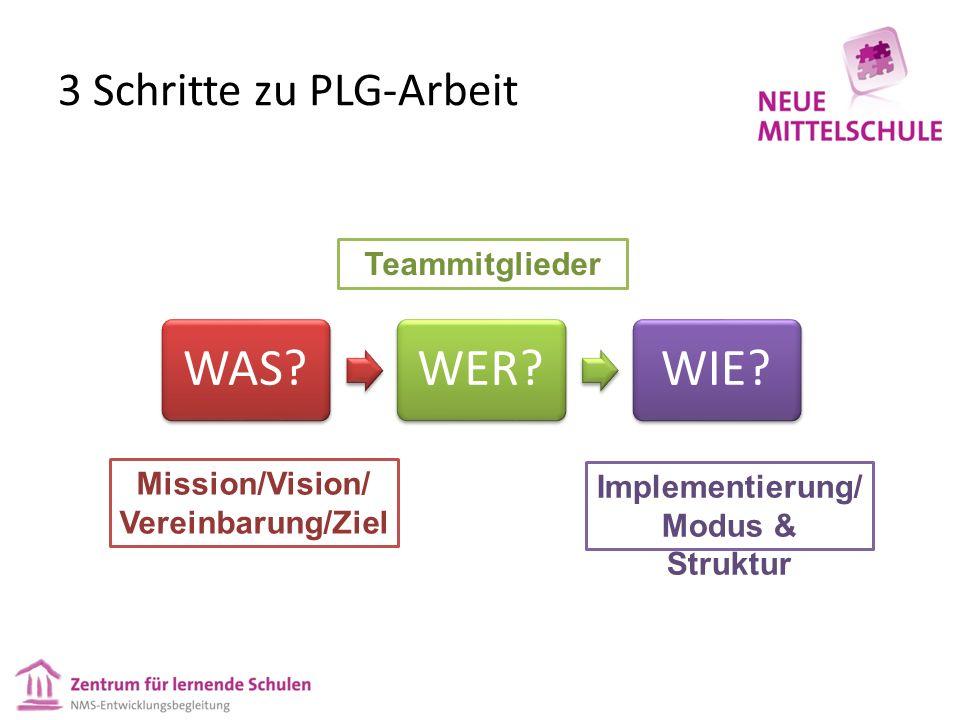3 Schritte zu PLG-Arbeit WAS?WER?WIE? Mission/Vision/ Vereinbarung/Ziel Teammitglieder Implementierung/ Modus & Struktur