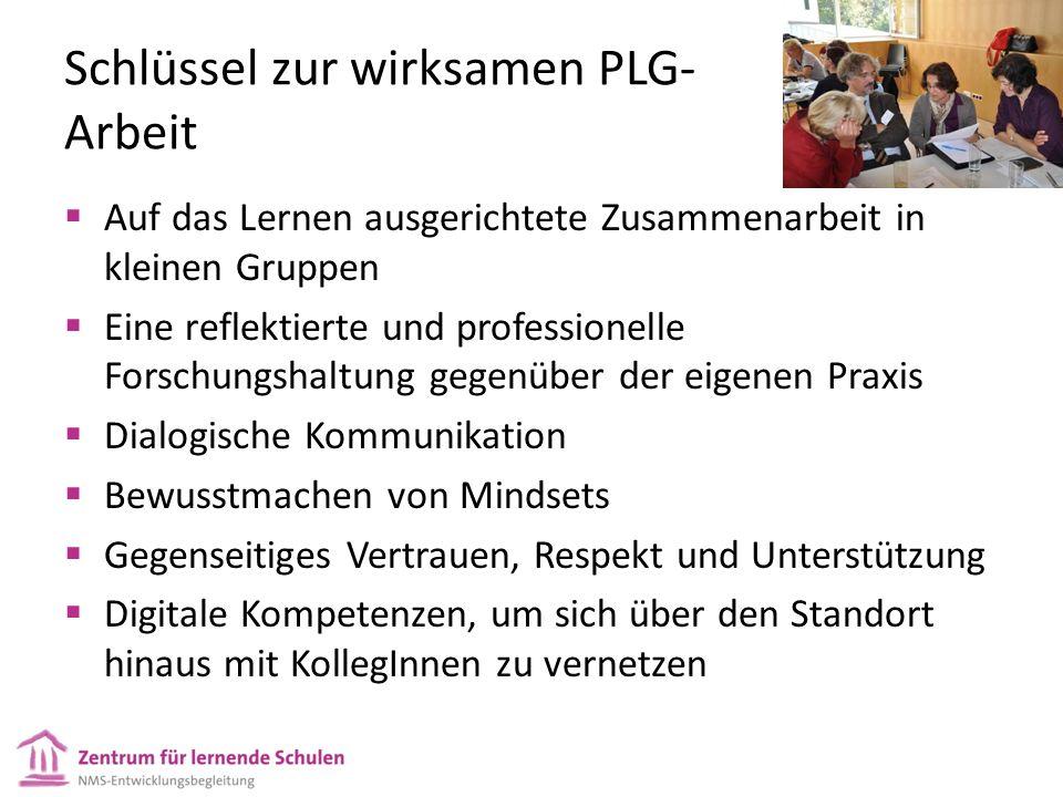 Schlüssel zur wirksamen PLG- Arbeit Auf das Lernen ausgerichtete Zusammenarbeit in kleinen Gruppen Eine reflektierte und professionelle Forschungshalt