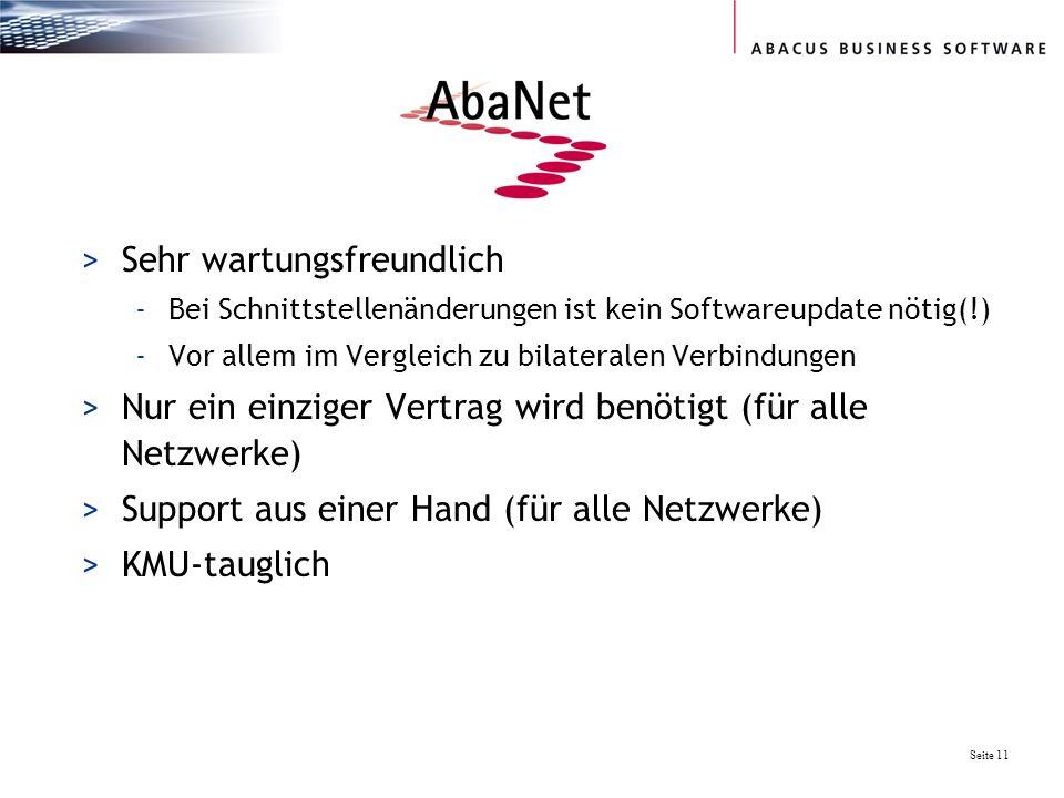 Seite 11 >Sehr wartungsfreundlich -Bei Schnittstellenänderungen ist kein Softwareupdate nötig(!) -Vor allem im Vergleich zu bilateralen Verbindungen >Nur ein einziger Vertrag wird benötigt (für alle Netzwerke) >Support aus einer Hand (für alle Netzwerke) >KMU-tauglich