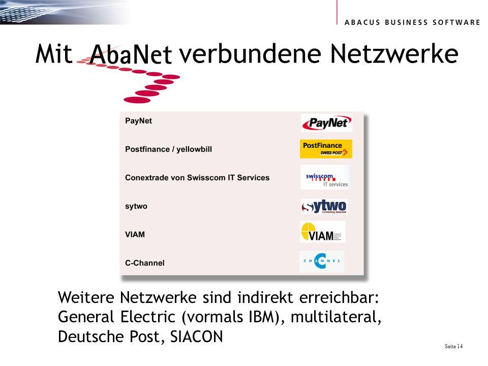 Seite 14 Mit verbundene Netzwerke Weitere Netzwerke sind indirekt erreichbar: General Electric (vormals IBM), multilateral, Deutsche Post, SIACON