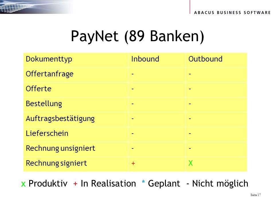 Seite 17 PayNet (89 Banken) DokumenttypInboundOutbound Offertanfrage-- Offerte-- Bestellung-- Auftragsbestätigung-- Lieferschein-- Rechnung unsigniert-- Rechnung signiert+X x Produktiv + In Realisation * Geplant - Nicht möglich