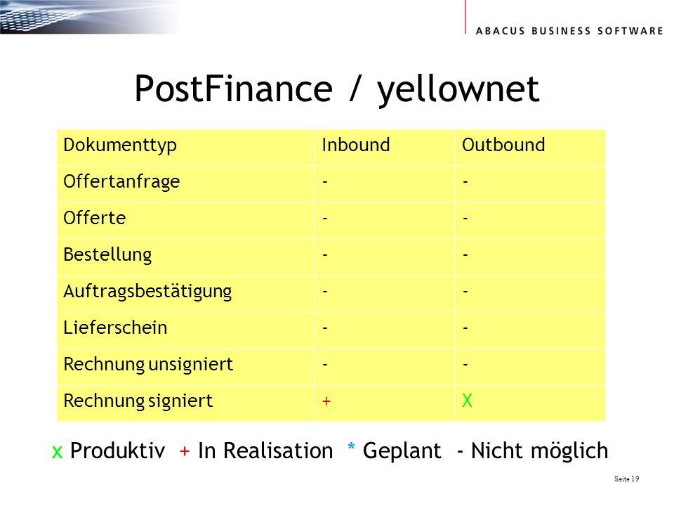 Seite 19 PostFinance / yellownet DokumenttypInboundOutbound Offertanfrage-- Offerte-- Bestellung-- Auftragsbestätigung-- Lieferschein-- Rechnung unsigniert-- Rechnung signiert+X x Produktiv + In Realisation * Geplant - Nicht möglich