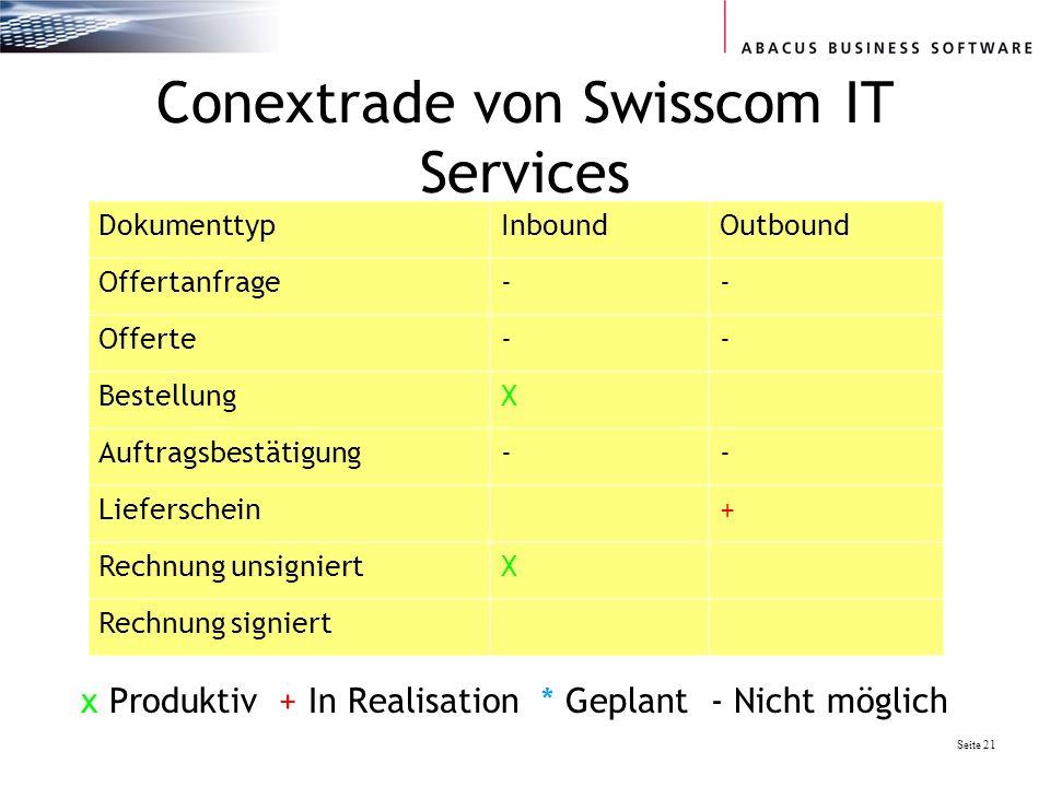 Seite 21 Conextrade von Swisscom IT Services DokumenttypInboundOutbound Offertanfrage-- Offerte-- BestellungX Auftragsbestätigung-- Lieferschein+ Rechnung unsigniertX Rechnung signiert x Produktiv + In Realisation * Geplant - Nicht möglich