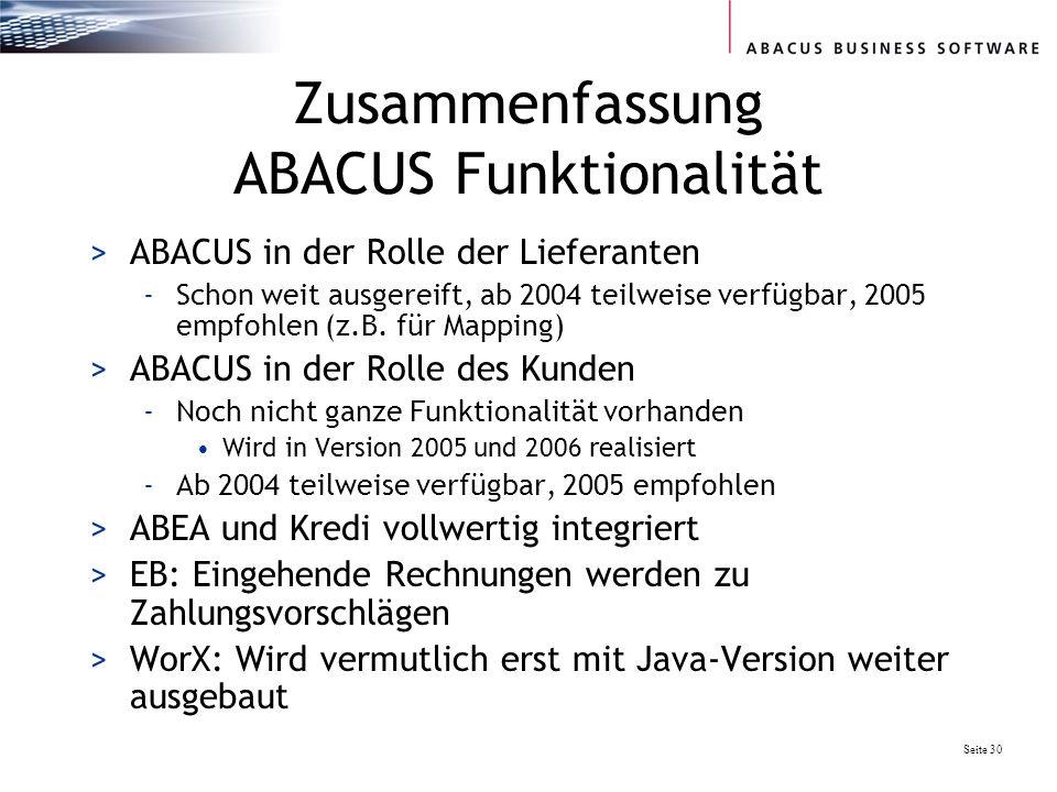 Seite 30 Zusammenfassung ABACUS Funktionalität >ABACUS in der Rolle der Lieferanten -Schon weit ausgereift, ab 2004 teilweise verfügbar, 2005 empfohlen (z.B.