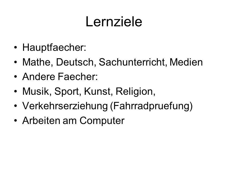 Lernziele Hauptfaecher: Mathe, Deutsch, Sachunterricht, Medien Andere Faecher: Musik, Sport, Kunst, Religion, Verkehrserziehung (Fahrradpruefung) Arbe