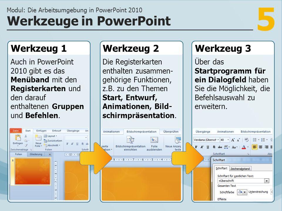 5 Werkzeug 1 Auch in PowerPoint 2010 gibt es das Menüband mit den Registerkarten und den darauf enthaltenen Gruppen und Befehlen. Werkzeug 2Werkzeug 3