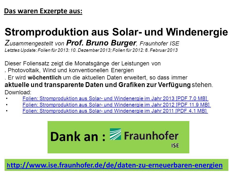 h ttp://www.ise.fraunhofer.de/de/daten-zu-erneuerbaren-energien Stromproduktion aus Solar- und Windenergie Z usammengestellt von Prof. Bruno Burger, F