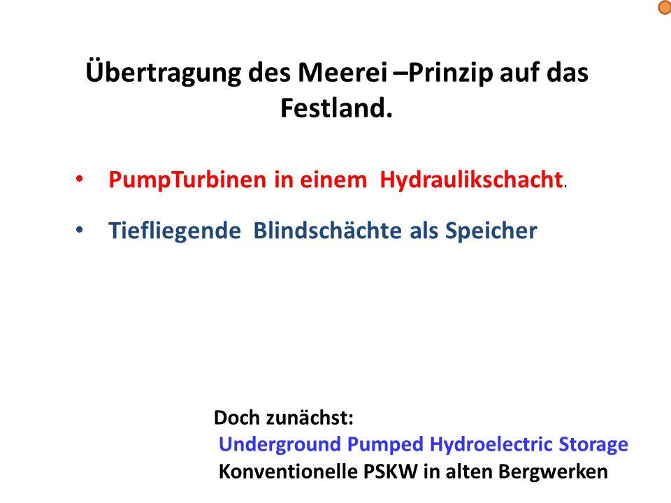 PumpTurbinen in einem Hydraulikschacht. Tiefliegende Blindschächte als Speicher Doch zunächst: Underground Pumped Hydroelectric Storage Konventionelle