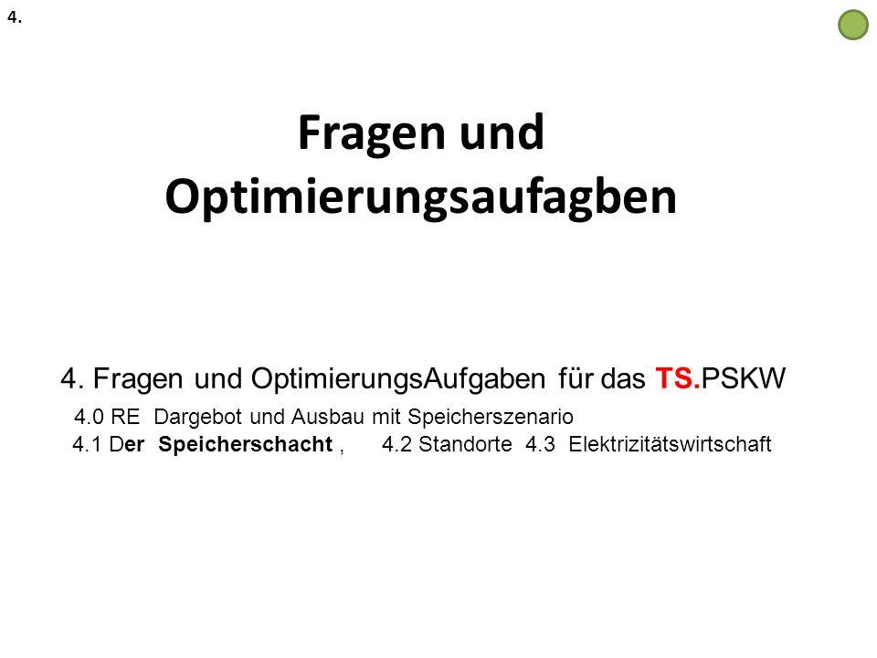 Fragen und Optimierungsaufagben 4. 4. Fragen und OptimierungsAufgaben für das TS.PSKW 4.0 RE Dargebot und Ausbau mit Speicherszenario 4.1 Der Speicher