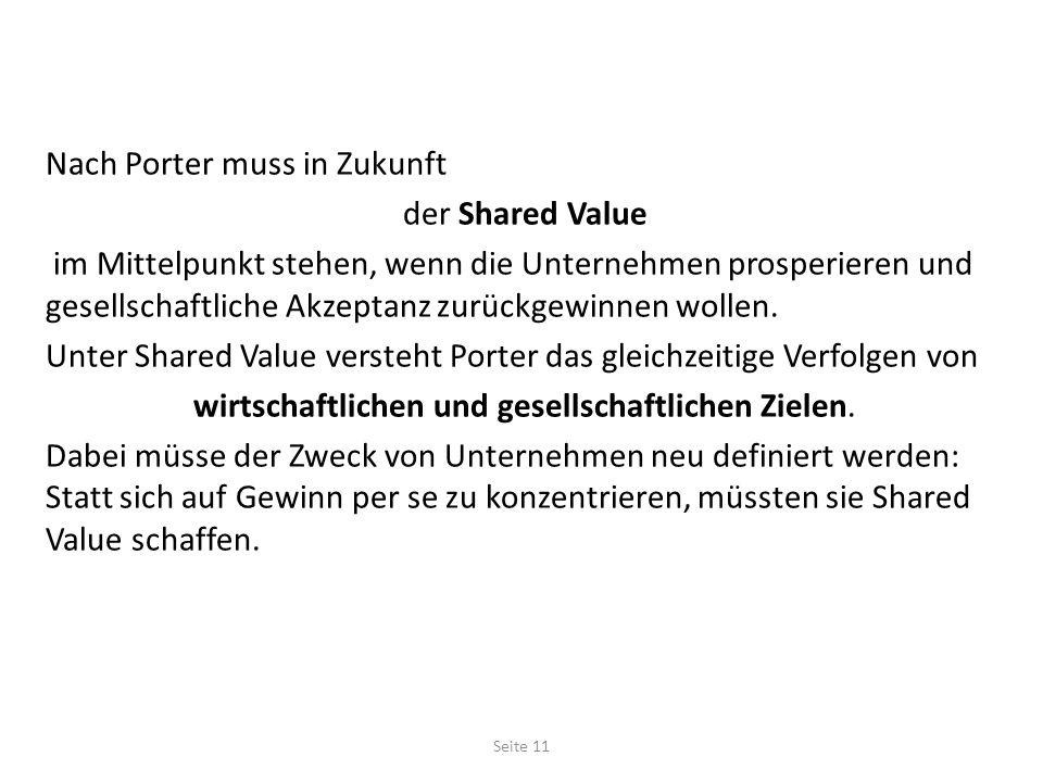 Nach Porter muss in Zukunft der Shared Value im Mittelpunkt stehen, wenn die Unternehmen prosperieren und gesellschaftliche Akzeptanz zurückgewinnen wollen.