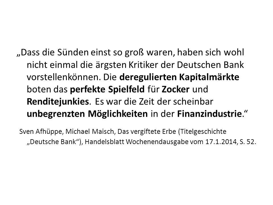 Dass die Sünden einst so groß waren, haben sich wohl nicht einmal die ärgsten Kritiker der Deutschen Bank vorstellenkönnen.
