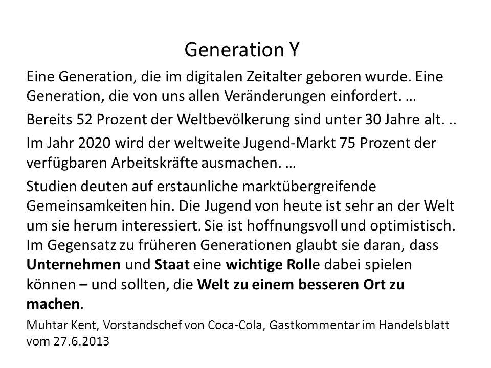 Generation Y Eine Generation, die im digitalen Zeitalter geboren wurde.