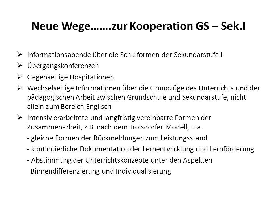 Neue Wege…….zur Kooperation GS – Sek.I Informationsabende über die Schulformen der Sekundarstufe I Übergangskonferenzen Gegenseitige Hospitationen Wec