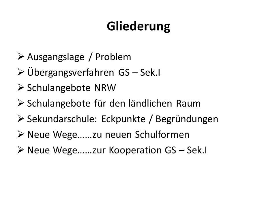 Gliederung Ausgangslage / Problem Übergangsverfahren GS – Sek.I Schulangebote NRW Schulangebote für den ländlichen Raum Sekundarschule: Eckpunkte / Be