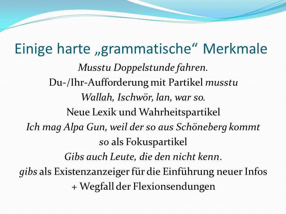 Einige harte grammatische Merkmale Musstu Doppelstunde fahren. Du-/Ihr-Aufforderung mit Partikel musstu Wallah, Ischwör, lan, war so. Neue Lexik und W