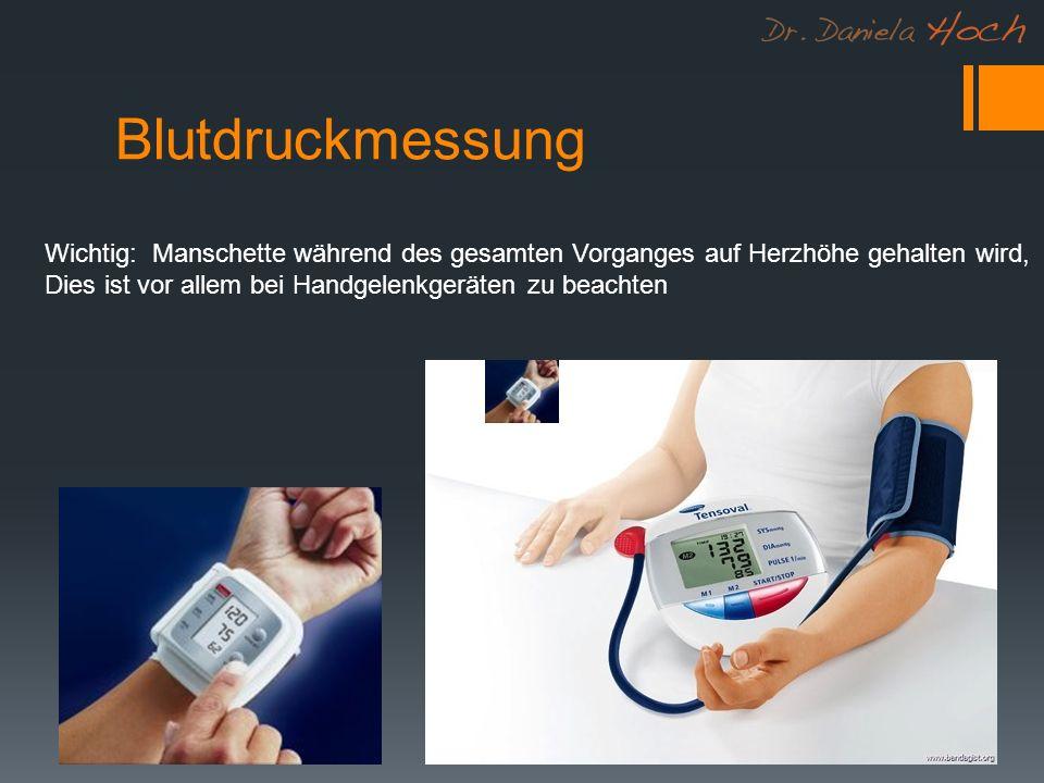 Blutdruckmessung Wichtig: Manschette während des gesamten Vorganges auf Herzhöhe gehalten wird, Dies ist vor allem bei Handgelenkgeräten zu beachten