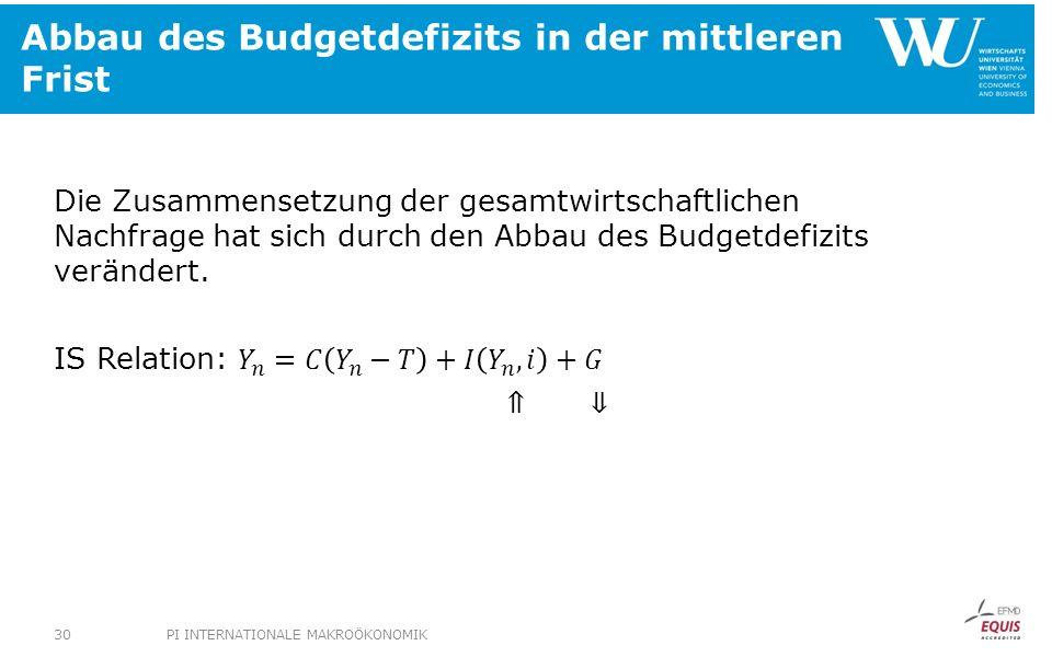 Abbau des Budgetdefizits in der mittleren Frist PI INTERNATIONALE MAKROÖKONOMIK30