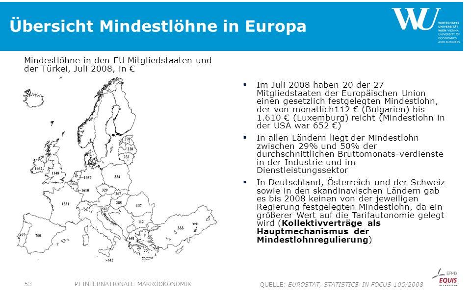 Übersicht Mindestlöhne in Europa Mindestlöhne in den EU Mitgliedstaaten und der Türkei, Juli 2008, in Im Juli 2008 haben 20 der 27 Mitgliedstaaten der