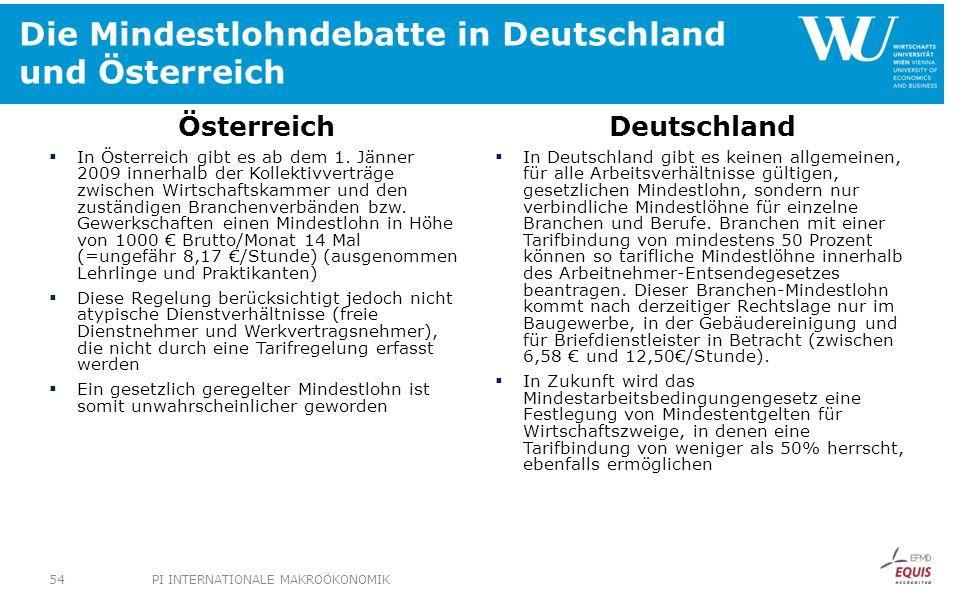 Die Mindestlohndebatte in Deutschland und Österreich Österreich In Österreich gibt es ab dem 1. Jänner 2009 innerhalb der Kollektivverträge zwischen W