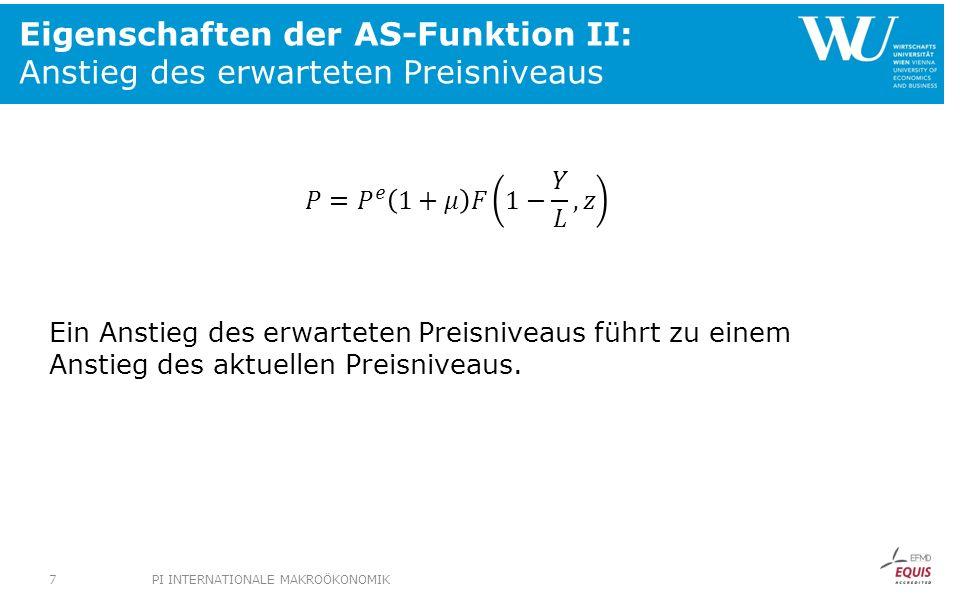 Angebotsschock: Auswirkungen im AS-AD- Modell PS 1 un0un0 un1un1 WS PS 0 Arbeitslosenquote, u Reallohn, W/P P1P1 i1i1 P 2 =P e 2 P 0 =P e Yn1Yn1 Yn1Yn1 Yn0Yn0 Yn0Yn0 AS 0 AD 0 IS LM 0 (M/P 0 ) Y P Y i LM 1 (M/P 2 ) i0i0 AS 1 AS 2 38