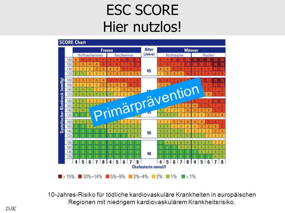 ESC SCORE Hier nutzlos! DJK 10-Jahres-Risiko für tödliche kardiovaskuläre Krankheiten in europäischen Regionen mit niedrigem kardiovaskulärem Krankhei